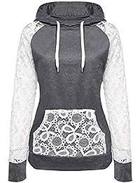 NINGSANJIN Damen Spitze Patchwork Kapuzenpullover Sweatshirt Pullover Hoodie Mantel Oberbekleidung Tops