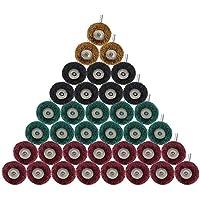 Decareta, 60 unidades de ruedas de pulido para eliminar pintura/óxido de superficies de metal, 4 tipos de granos abrasivos, ruedas de pulido (3 mm de diámetro)