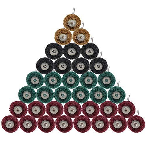 DECARETA 60 Stück Polieren Räder zum Entfernen von Farbe / Rost auf Metalloberflächen, 4 Größen Multifunktions Polierschleifscheibe Set für Dremel Rotationswerkzeug Metallschleifaufsatz