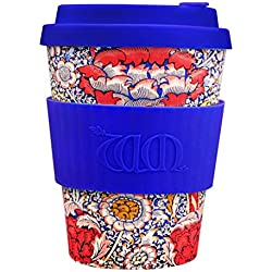 Ecoffee Cup Bamboo - 340 ml William Morris Wandle With Blue Silicone