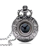 Pequeño Tamaño Plata Zodiac Hueco Cazador Cuarzo Reloj De Bolsillo con Suéter Collar Cadena Exquisita Colgante Reloj Regalos para Mujer