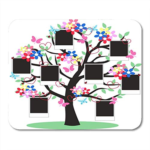Deglogse Gaming-Mauspad-Matte, Green File Blue Family Tree Full of Frames Black Digital Pink Flower Mouse Pad,Desktop Computers Mouse Mats, Digital Pic Frame