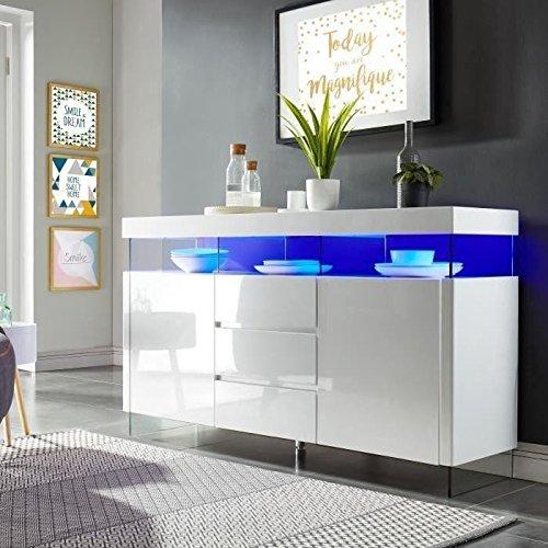 SEZANNE Buffet avec eclairage LED contemporain laque blanc brillant - L 150 cm