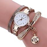 LSAltd Heiß Verkauf!!! Frauen Mädchen Klassische Lederne Rhinestone Uhr analoge Quarz Armbanduhren Großes Geschenk (Braun)