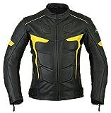 Ridex LJ-2Y Giacca da motociclista,in pelle, con protezioni CE Black & Yellow XX-Large