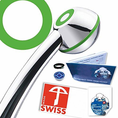 Handbrause drucksteigernd VERDE: Powerstrahl, verkalkungsfrei, Schweizer Produkt, 1 Wassersparer für 2 Durchflussmengen und 4 Strahl-Varianten, Energieeffizienz B-C