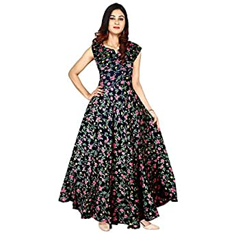 Khushi Print Jwf Women's Rayon Printed Long Maxi Dress (FR471, Multicolour, Free Size)