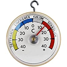 Thermomètre de réfrigérateur bi-métal. Thermomètre de réfrigérateur pour coller ou à suspendre avec crochets en métal analogique. Fabrication allemande