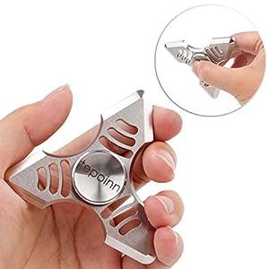 Tepoinn Fidget Spielzeug Spinner Handspinner Fingerspinner aus Aluminium Perfekt für ADD, ADHD Kinder und Erwachsene mit ersetzbar Keramiklager Entlastet, Autismus und Angst Silber