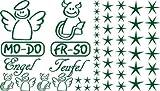 Autoaufkleber Sticker Aufkleber Set für Auto Schriftzug Engel Mo-Do Fr-So Teufe (078 laubgrün)