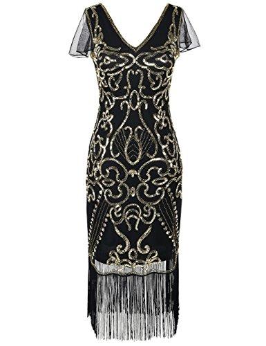 Kayamiya Damen Vintage Gatsby Kleid 1920er V-Ausschnitt Inspiriert Pailletten Franse Charleston Kleid XL gold