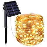 Criacr Solar Powered String Lights, (100 LED 2 Modes) Solar Fairy String Lights, 33ft/10m Copper Wire String Lights, Auto on off, Waterproof 1.2 V Portable for Patio, Garden, Home, Wedding, Pathway, Party (Warm White)