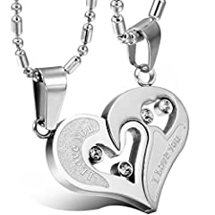 Idea Regalo - Oidea Collana per coppia Lovers collana in acciaio inox con pendente puzzle cuore I LOVE YOU mosaico strass regalo per Amante matrimonio anniversario argento(1 coppia)