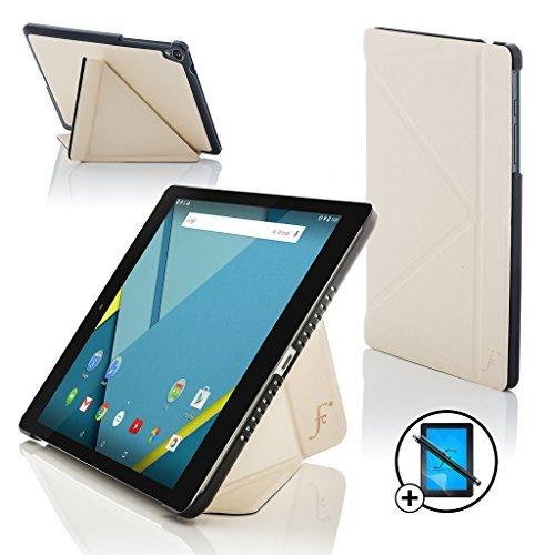 le Nexus 9 8.9 Zoll Origami Hülle Schutzhülle Tasche Smart Case Cover Stand - Rundum-Geräteschutz und intelligente Auto Schlaf/Wach Funktion + Stift & Displayschutz (WEIß) ()