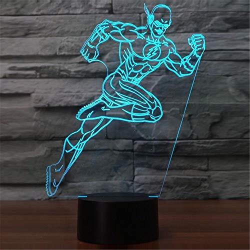 3D-Lampen , Cooler Läufer-Mann , 7 Farben, Touch- / Fernbedienungsschalter, Geburtstagsgeschenk Babylicht , Acrylflach- & USB-Kabel & AA-Batterie - Headset Läufer