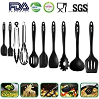 Silicone Kitchen Utensils 10 Sets,Heat Resistant Non Stick Easy To Clean Kitchen Baking Tools Silicone Cooking Utensils kitchen Utensil Soup Spoon,Spatula,Kitchen Gadgets Utensil Sets