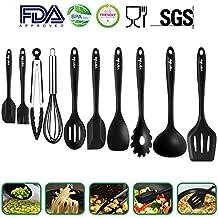 Silicone Kitchen Utensils 10 Sets,Heat Resistant Non Stick Easy To Clean Kitchen Baking Tools Silicone Cooking Utensils kitchen Utensil Soup Spoon,Spatula,Kitchen Gadgets Utensil Sets