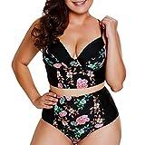 Yvelands Damen Bikini Set Plus Size Sexy Print Bademode Brasilianische Badebekleidung Beachwear Badeanzug(CN-3XL,Schwarz)