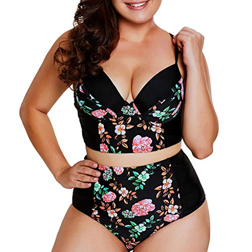 Sannysis Große Größen Bikini Tankini Bademode Badeanzug Damen Plus Size Blumenmuster Swimsuit Retro Vintage High Waist Bikini Set Übergröße Oversize Swimwear Bauchweg