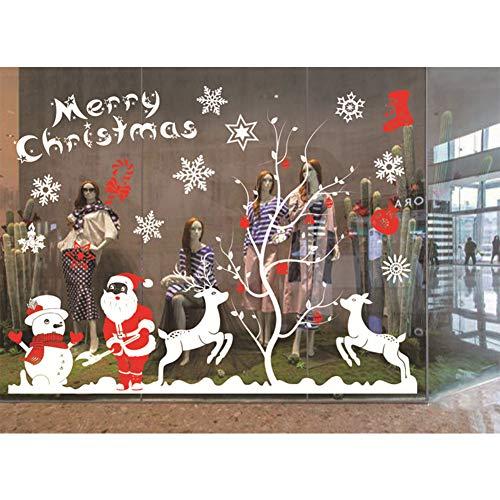 SeWooo 2 Stück Schneeflocken Fensterbild für Weihnachts,Fensteraufkleber Abnehmbare Fensterdeko Statisch Haftende PVC Aufkleber Winter Dekoration