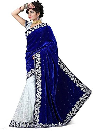 Modern Style Women's Georgette Embroidered Blue AND White Color Saree With Blouse...