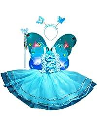 Amosfun Le Ragazze Vestono la Principessa Costume da Fata LED Ali di  Farfalla Set per Bambini Ragazze Fata LED… 1ced9a3cd84