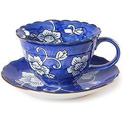 Chinzee Taza de Café con Plato (210ml/7.4oz) Hecho a Mano Original Vintage Azul y Blanca - en Caja de Regalo