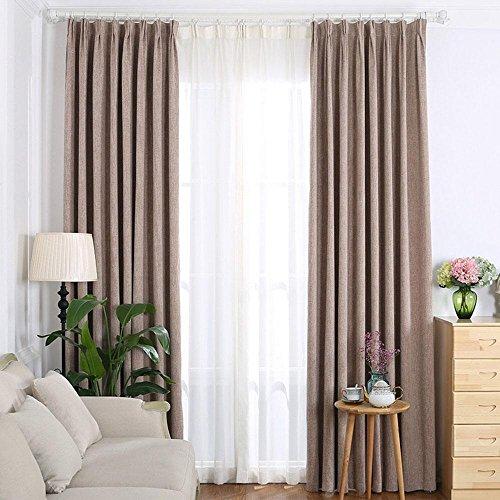 NACHEN Blackout Öse Fenster Vorhänge thermische isolierte Baumwolle und Leinen dicken Vorhang für Schlafzimmer Wohnzimmer mit Zwei Raffhalter, 2 Stück, Color 1, 107X71inch -