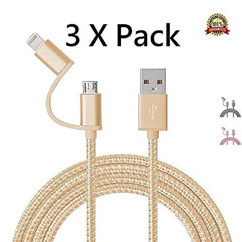 2en 1USB câble en nylon tressé 1m/1m double Lightning vers Micro USB de charge et de synchronisation des données pour Apple iPhone 7/7Plus, 6/6S, 6Plus/6s Plus, SE/5/5C/5S et Samsung S7/S7Edge, S6/S6Edge, S5et Android Utilisation Mobile Micro USB