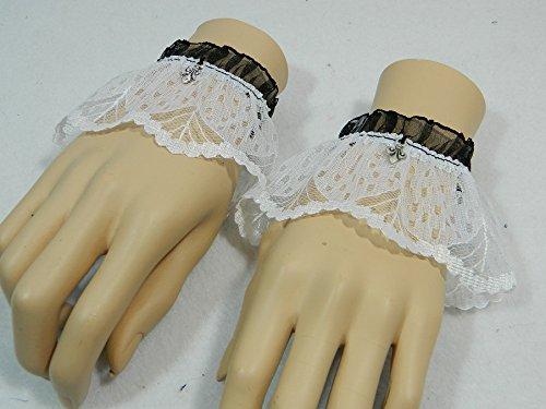 Stretch-spitzen Handgelenk Handschuhe (2 Armbänder Gr.S Spitze schwarz weiß Fleur de Lys Manschetten Cuffs Gothic Steampunk Armschmuck Stulpen Handschuhe Armstulpen)