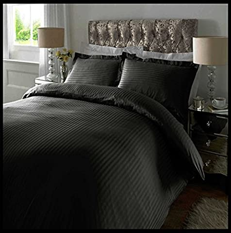 Adam Linens Luxury 5 Star Hotel Quality 100% Cotton 300 Thread Count Satin Stripe Duvet Cover + Oxford Edge Pillowcase (Black, Superking)