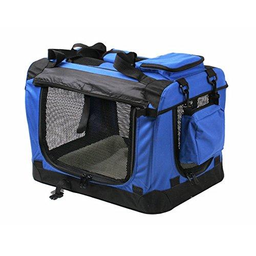 hundeinfo24.de [mia.home®]Transportbox Faltbare Hundebox Hundetransportbox Box Royal Blau 7 Größe (XXL 91.4×63.5×63.5cm)