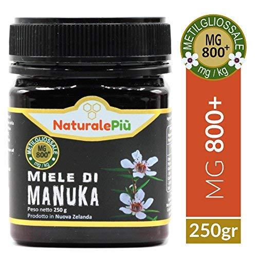 Miele di Manuka 800+ MGO 250 gr | Prodotto in Nuova Zelanda, Attivo e Grezzo, Puro e Naturale al 100% | Metilgliossale Testato |
