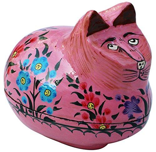 souvnear-niedlich-lustig-faul-katze-figurine-schmuckkastchen-11-cm-rosa-handgefertigt-gemalt-papier-