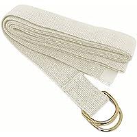 Yoga Direct Y042STRTAND1 Cinturón de Yoga con Hebilla en Forma de D, Unisex Adulto, Blanco Roto, 3 m