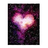 YISUMEI Decke 150x200 cm Kuscheldecken Sanft Flanell Weich Fleecedecke Herz Galaxie Muster