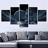 mmwin Impresiones HD Wall Art Modern 5 Unidades Resumen Luna Escena Nocturna Cartel Modular Imagen de la Lona Home Living Room Decor