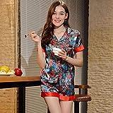 HAOLIEQUAN Pyjamas Home Suit Frauen Blume Sommer Pyjamas Short Sleeves Shorts 2Pcs Nachtwäsche Weibliche Satin Seide Pyjama Set, Farbe, XL