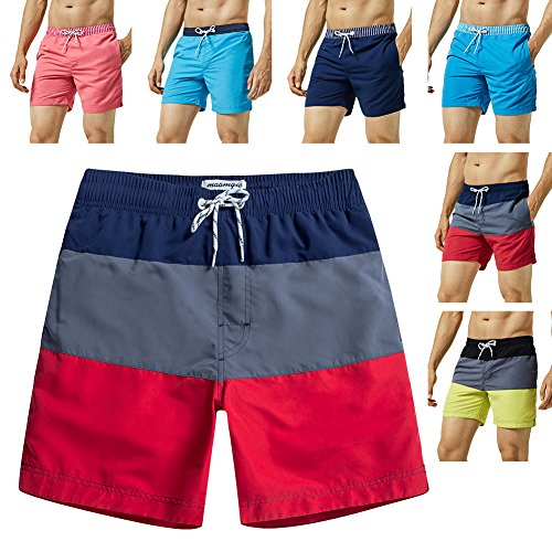 bdd9f0431b MaaMgic Mens Quick Dry Striped Swim Trunks with Mesh Lining Swimwear  Bathing Suits - Red -