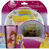 Disney Princess 3 Piece Set - Dinner Plate, Cereal Bowl And Cup