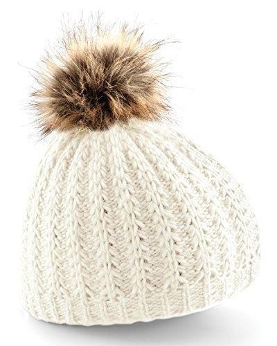 Fausse Fourrure Pompon Bonnet, Ribber Tricot Bonnet À Pompon - one size