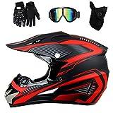 MIBDF Caschi da motocross, antiurto per giovani adulti, motociclette ultraleggere, casco da downhill da corsa, caschi da mountain bike (rosso, M)