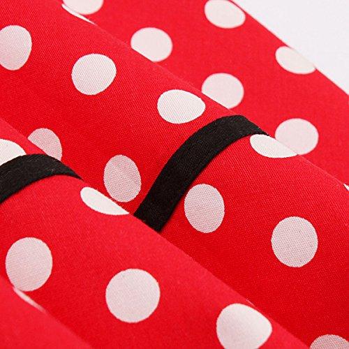 Damen 50er Vintage Retro Rockabilly Kleid Hepburn Stil Polka Dots Kleid Partykleider Cocktailkleider Festliches Kleider Rot Polka Dots