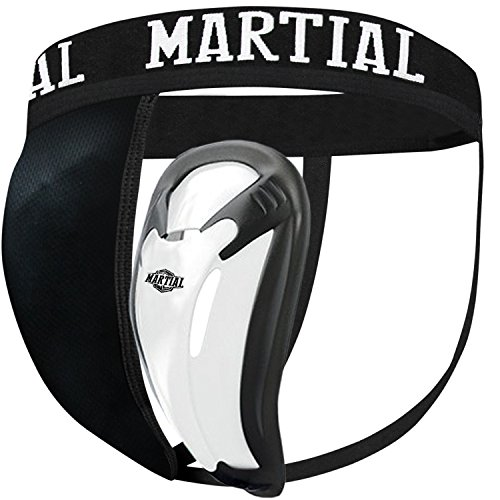 MARTIAL Tiefschutz mit 2 Cup-Größen für perfekten Sitz! Genital-Schutz mit hoher Bewegungsfreiheit ideal für Kampfsport! Leisten-Schutz mit bester Passform und elastischem Hüftband inkl. Tragebeutel! (L, Schwarz)