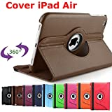 King Cameleon Marron pour Apple iPad air - Housse de protection multi angle et rotative à 360°- 1 STYLET OFFERTS !!!