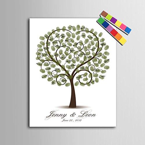 Preisvergleich Produktbild DIY Fingerabdruck Unterschrift Dekorative Malerei Hochzeit Party Kinder Geburtstag Party Dekoration Wandbild Leinwand Gemälde Herzförmigen Baum, 80x120cm