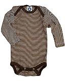 Cosilana Baby Body Wollbody®, Größe 98/104, Farbe geringelt Braun-Natur - Wollbody®GmbH