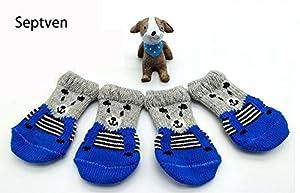 Septven 4pcs mignon antidérapant Chaussettes pour chien pour petits chiens, chiot et chat