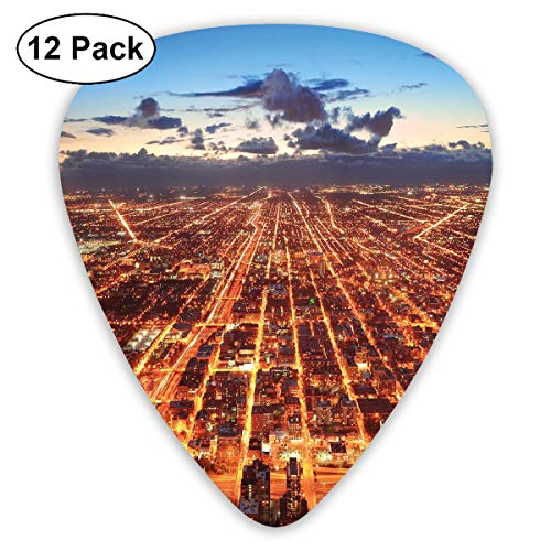 Guitar Picks12pcs Plectrum (0.46mm-0.96mm), Chicago Downtown Skyline Aerial Panorama View At Dusk With Skyscrapers,For Your Guitar or Ukulele