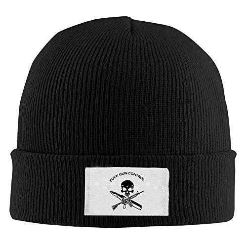 ghkfgkfgk Fuck Gun Control AR15 and AK47 Winter Warm Knit Hats Skull Caps Soft Cuff Beanie Hat Unisex -